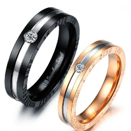 Titanium Simple Fashion With Crystal Lover's Rings(Price For A Pair)