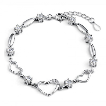 Romantic Three Hollow Hearts And Joint With Crystal Woman's Sterling Silver Bracelet
