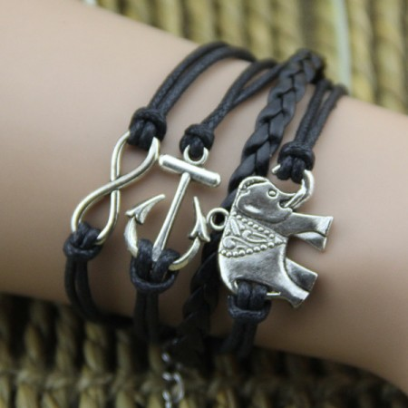 Black Handmade Rope With Alloy Elephant And Anchor Woman's Retro Bracelet