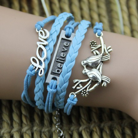 "Couple Birds Plate And ""Love"" Sky Blue Rope Handmade Woman's Bracelet"