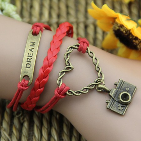 Bronze Alloy Heart Camera And Plate Red Rope Handmade Woman's Retro Bracelet