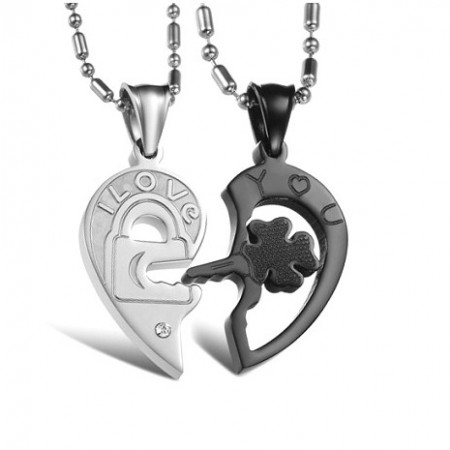 Fashion Black Four-leaf Clover Key And White Lock Lover Necklace Matching Set(Price For A Pair)