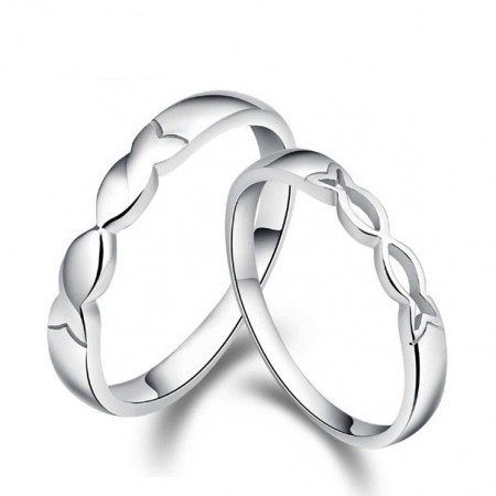 Chic Kiss Fishes Lover's Sterling Silver Rings(Price For A Pair)