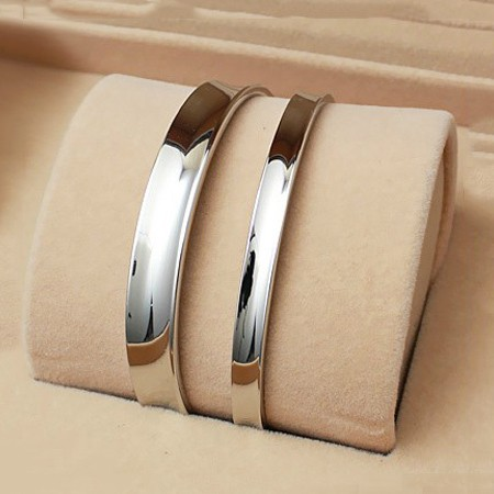 New Simple Concave/Plain Surface Titanium Lover's Bracelets(Price For A Pair)
