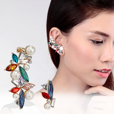 Asymmetrical Pearl And Crystal Flower Ear Cuff And Earring, 2 Colors