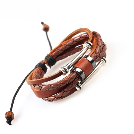 Cool Braided Cattlehide Rope And Belt With Alloy Decorations Man's Bracelet