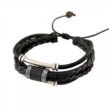 Punk Fashion Stack Up Leather Rope With Alloy Decorations Man's Bracelet