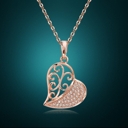 Rose Gold Alloy Half Cut Out Half Solid Heart Pendant Woman's Fashion Necklace