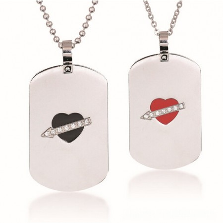 New Stylish Stone Mandrel Lover's Titanium Necklace(Price For A Pair)