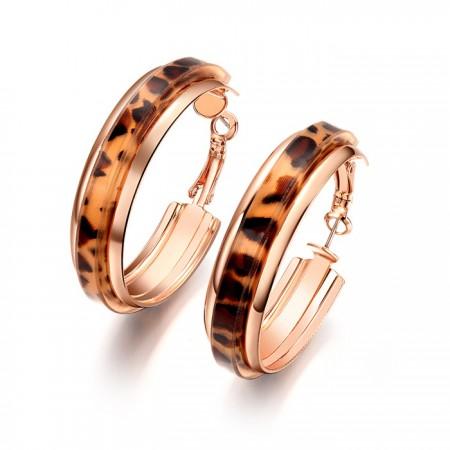 Sexy Leopard Fashion Alloy Golden Hoop Earrings