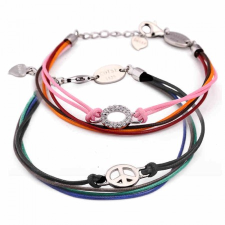 Handmade Multi Strings With Sterling Silver Decoration Lover's Bracelets(Price For A Pair)