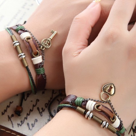 Vintage Wax Rope Leather Belt With Alloy Key/Lock Lover's Bracelets(Price For A Pair)