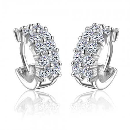 Elegant Polished Sterling Silver And Shining Rhinestone Woman's Clip Earrings