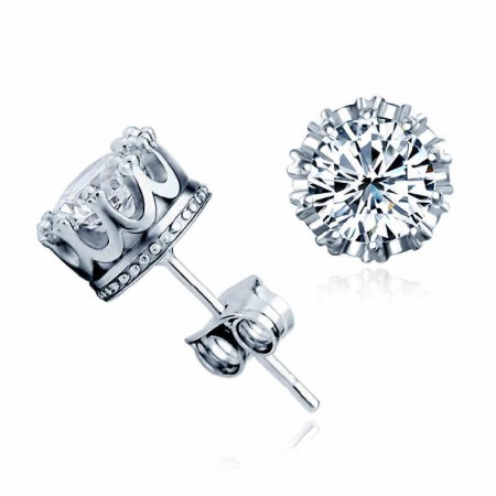 Sparking Prong Solitaire Crystal Sterling Silver Stud Earrings