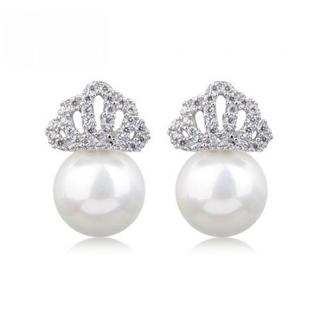 Shining Alloy Charming Crown With Pearl Stud Earrings