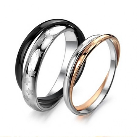 New Fashion Two In One Silver&Gold/Silver&Black Polished Titanium Lover's Rings(Price For A Pair)