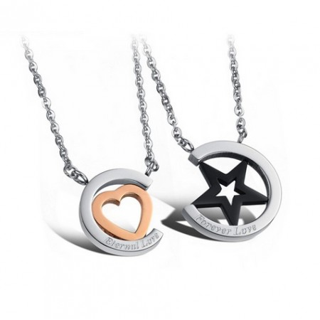 Romantic Titanium Circle With Star/Heart Lover's Fashion Necklaces(Price For A Pair)