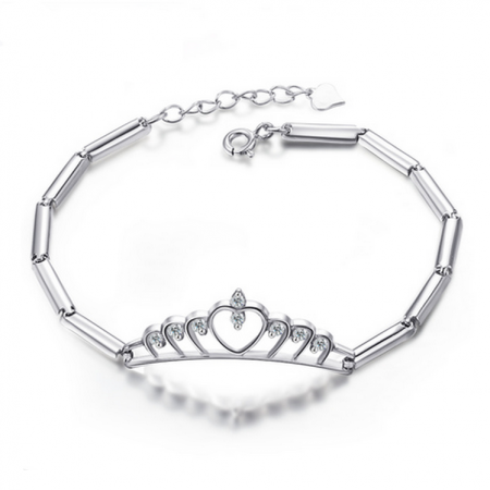 Glamorous Big Crystal Crown And Joint Design Sterling Silver Bracelet