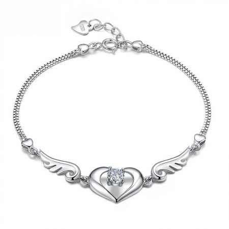 Hot Sale Cut Out Heart With Solitaire Crystal And Wings Woman's Sterling Silver Bracelet
