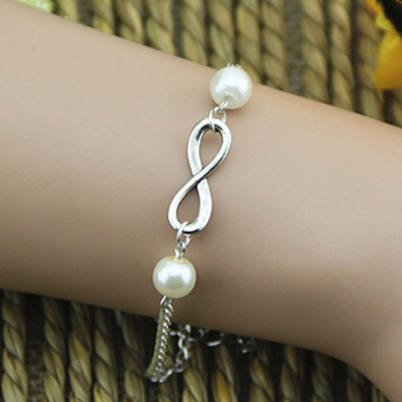 "Handmade Fashion Pearls And ""8"" Silver Plated Infinity Bracelet"