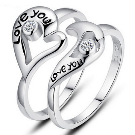 """Stylish """"Love You"""" Heart With Shining Crystal Lover's Sterling Silver Rings(Price For A Pair)"""