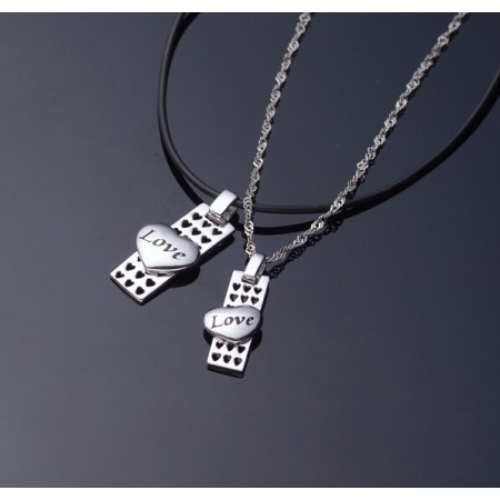 Platinum Plated Plate And Love Heart Lover's Sterling Silver Necklaces(Price For A Pair)