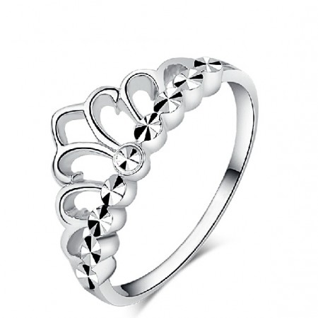 Stylish Shining Crown Woman's Sterling Silver Ring