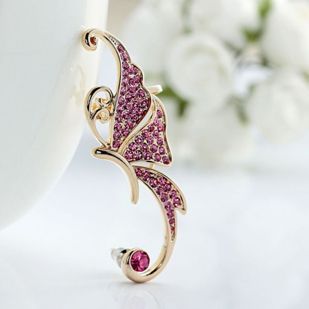 Beautiful And Gorgeous Butterfly Fairy With Rhinestone Inlaid 18K Gold Plated Alloy Single Stud Woman's Ear Cuff