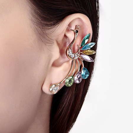 Fashionable And Elegant Colorful Peacock Single Stud 18K Gold Plated Alloy Woman's Ear Cuff