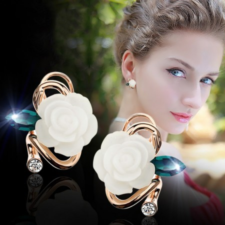 Fresh And Charming Rose With Cubic Zirconia Leaf Woman's Stud Earrings