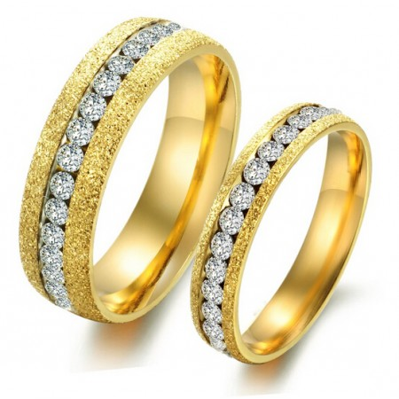 Chic Rough Surface With Crystal Belt Titanium Lover's Rings(Price For A Pair)