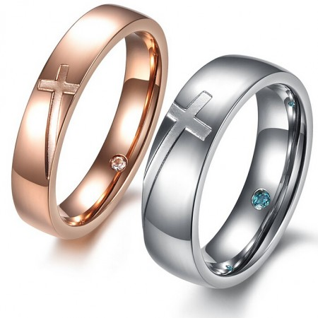 Romantic Rose Gold/Silver Cross Pattern Lover's Titanium Rings(Price For A Pair)