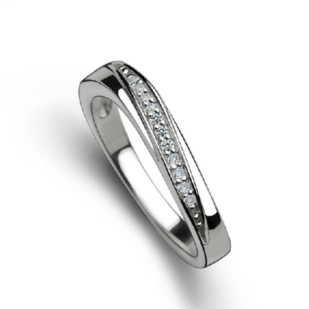 New Fashion Crystal String Inlaid Woman's Sterling Silver Ring