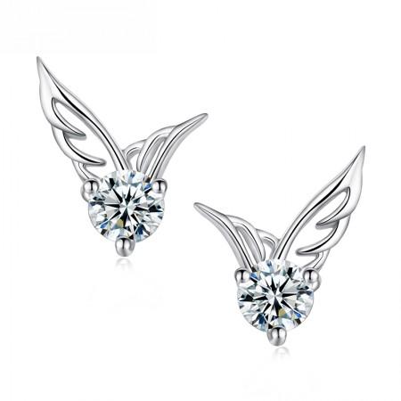 Elegant Angel's Wings With Solitaire Cupid Cut Crystal Woman's Stud Earrings