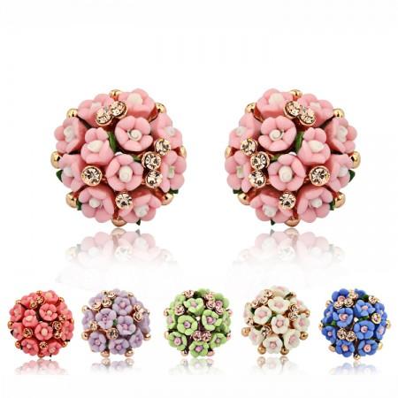 Glamorous Starry Ceramic Flower With Crystal Hemispherical Woman's Clip Earrings