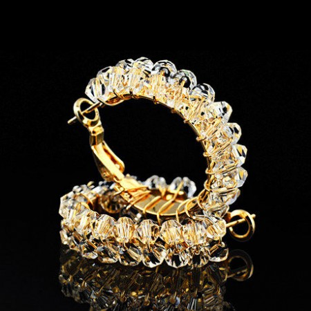 Golden Alloy With Transparent Crystal Luxury Woman's Hoop Earrings