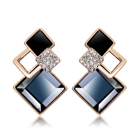 18K Gold Plated Alloy All Diamond Squares With Crystal Woman's Stud Earrings