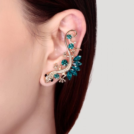 Exquisite Alloy And Crystal Gecko Fashion Cuff Earring For Left Side