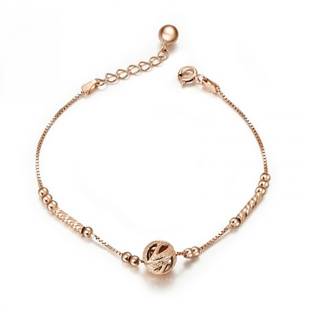 Cute Charming Lucky Beads 18k Rose Gold Plated Woman's Sterling Silver Bracelet