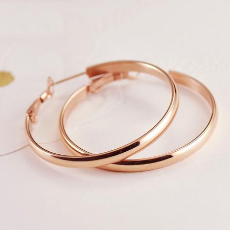 Fashionable Elegant 18k Rose Gold Plated Woman's Titanium Hoop Earring