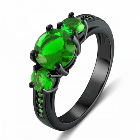 Exquisite Emerald Engagement / Wedding Ring Women's Black Gold Plated Ring