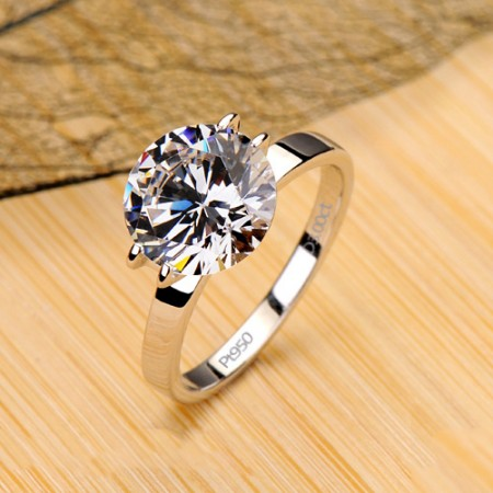 Hot Sale Sparking Solitaire Diamond Simple Wedding Ring