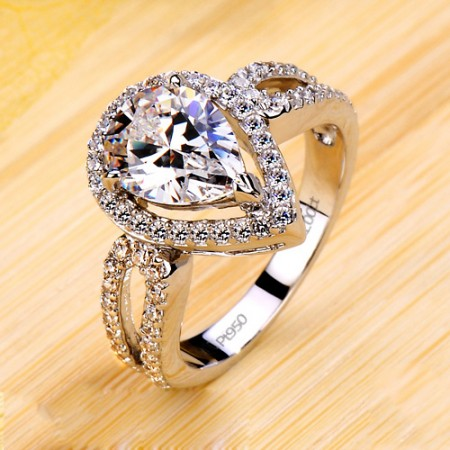 Charming Water Drop Designed Cut Out Wedding Ring