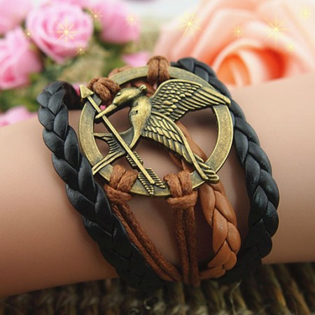Handmade Braided Leather And Alloy Bird Infinity/Wrap Bracelet