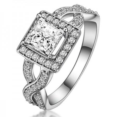 Elegant 925 Sterling Silver Princess Rhinestone Engagement Ring