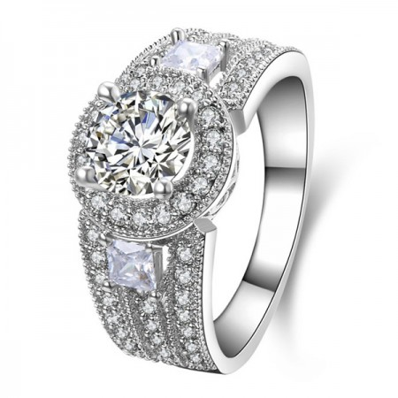 Gorgeous 925 Sterling Silver Round CZ Women Engagement/Wedding Ring