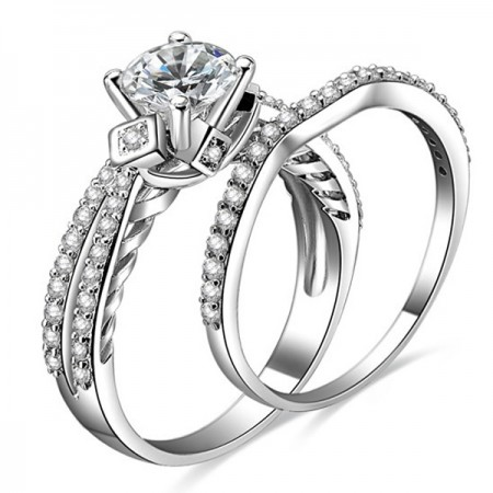 Charm 925 Sterling Silver CZ Engagement Ring Weddin Brand For Women