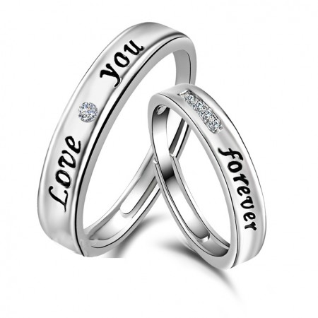 Adjustable Sterling Silver Couple Rings For Lovers Love Your Forever(Price For A Pair)
