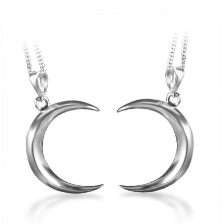 925 Sterling Silver Crescent Moon Couple Necklace(Price For a Pair)