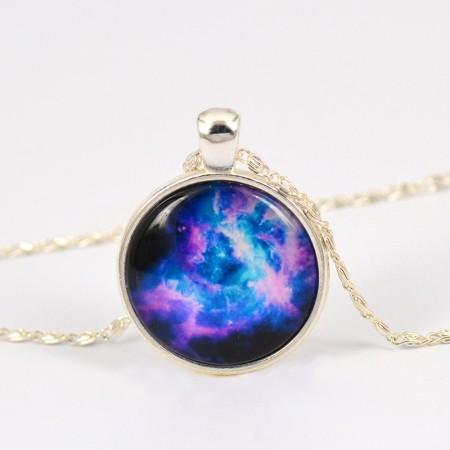 Amazing Blue Planet Pattern Time Gemstone Pendant/Necklace